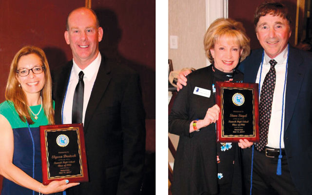 Dennis Heck, board member and principal of Teaneck High School, presents award to Elyssa Deutsch Goldenfarb, left. Steve Siegel, THS class of 1966, receives his award from board member Bonnie Morrow. (Photos provided)
