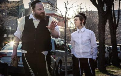 """Menashe Lustig, left, and Ruben Niborski in the film """"Menashe."""" (Federica Valabrega/A24)"""