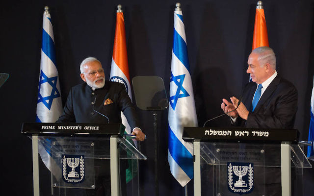 Indian Prime Minister Narendra Modi meeting with Israeli Prime Minister Benjamin Netanyahu at the King David Hotel in Jerusalem, July 5, 2017. (Hadas Parush/Flash90)