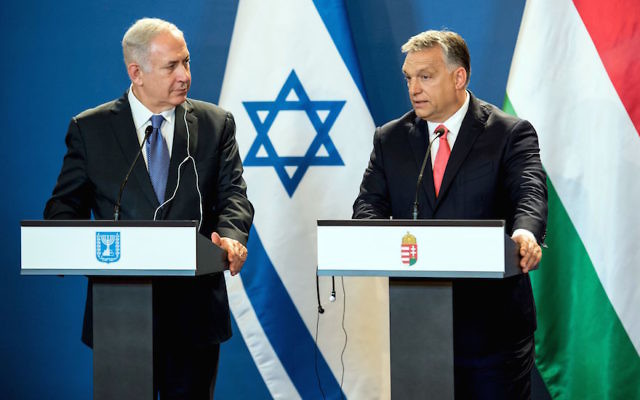 Israeli Prime Minister Benjamin Netanyahu, left, and his Hungarian counterpart, Viktor Orban, at a joint news conference at the parliament in Budapest, July 18, 2017. (Karoly Arvai/AFP/Getty Images)