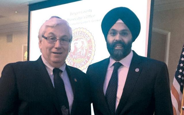 Mahwah Mayor Bill Laforet and Bergen County Prosecutor Gurbir Grewal