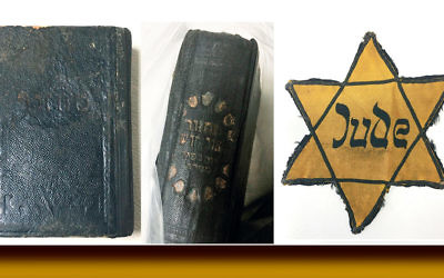 The items the Nazi hid and then disgorged also included a machzor — these two photos show its cover and spine — and this yellow star.