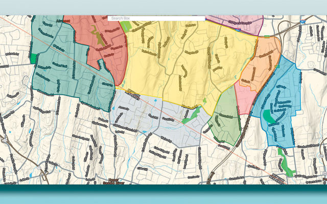 A map of the southern portion of the Rockland eruv. The eruv segment at the left stretches into Upper Saddle River and is complete. The adjacent section, extending into Mahwah, is not yet finished.
