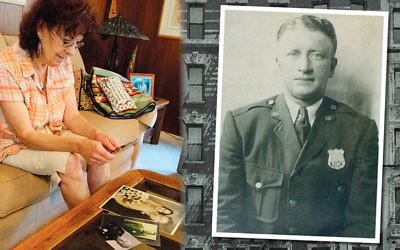 Roberta Seltzer looks at photos of her parents, Morris and Julia Abramowitz. Inset, Morris Abramowitz in his NYPD uniform.