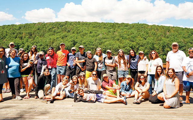 The group of FIDF Legacy campers with counselors at Camp Ramah in the Berkshires last week. (Courtesy Camp Ramah in the Berkshires)