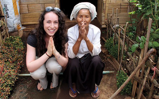 Sydney Kamen with a village leader in rural Burma in an unofficial refugee camp that is one of SOAP's partner communities. (Courtesy of Sydney Kamen)