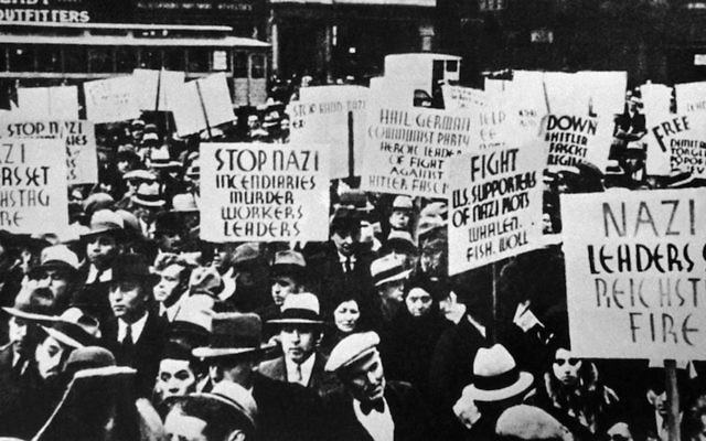 An anti-Nazi protest in front of the German legation in New York in 1933.