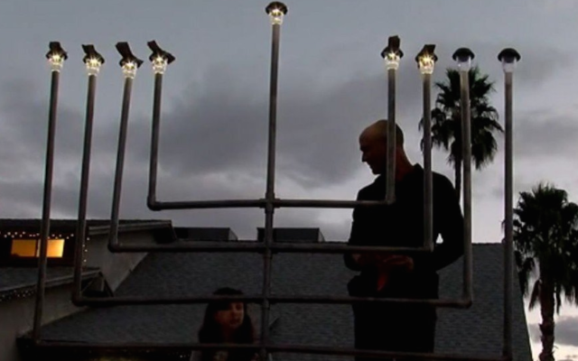 A menorah in Chandler, Ariz. (Screenshot from YouTube)
