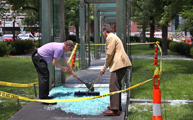 The New England Holocaust Memorial in downtown Boston was first vandalized on June 28, 2017. (David L. Ryan/The Boston Globe via Getty Images)