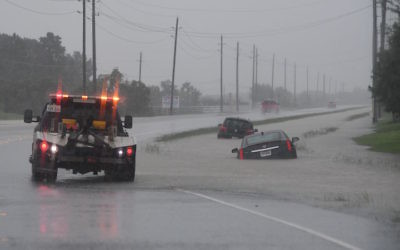 Cars trapped in floodwater near the I-10 freeway leading into Houston after Hurricane Harvey caused heavy flooding in the city, Aug. 27, 2017. (Mark Ralston/AFP/Getty Images)