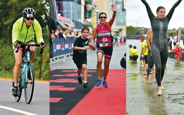 On the bike, left; center, crossing the finish line with son Jakie; right, finishing the swim.