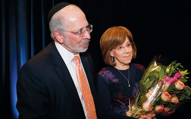 Rabbi Shmuel and Barbara Goldin are honored for their 33 years at Ahavath Torah.