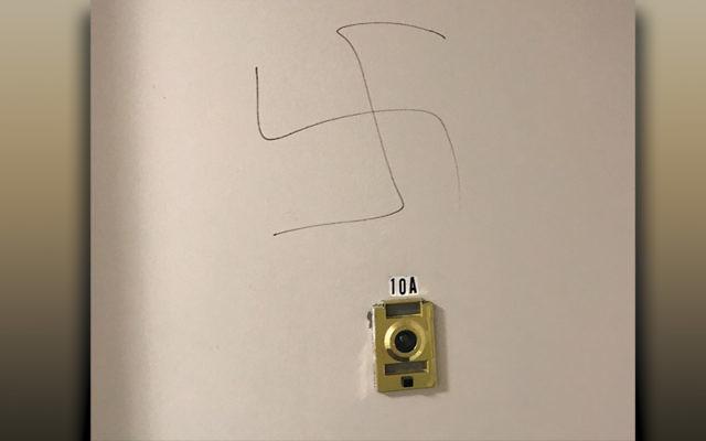 This swastika was scrawled on the door of Kelly Nurnberg-Darzi's Hackensack apartment.