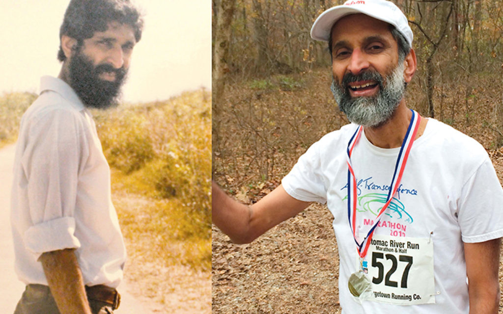 At left, Meylekh Viswanath, exploring his new world; at right, he's just finished a marathon.