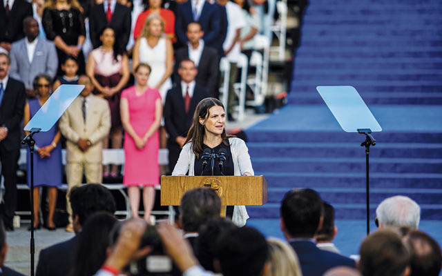 Rabbi Sharon Brous of Ikar, an independent congregation, delivering an invocation at the inauguration of Los Angeles Mayor Eric Garcetti in July 2017. (Courtesy of Ikar)