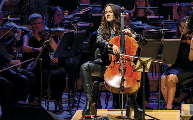 "Maya Beiser performs an orchestral version of David Bowie's ""Blackstar"" album at the L'Auditori in Barcelona, Spain, on July 13. (Robert Marquardt/Redfern)"