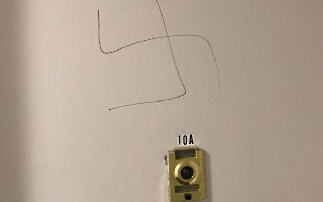A swastika was scrawled on Kelly Nurnberg-Darzi's apartment door in Hackensack, September 10, 2017
