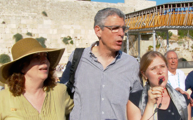 Union for Reform Judaism president Rabbi Rick Jacobs, center, participating in a prayer service at the Western Wall in Jerusalem, July 4, 2016. (Courtesy of the URJ)
