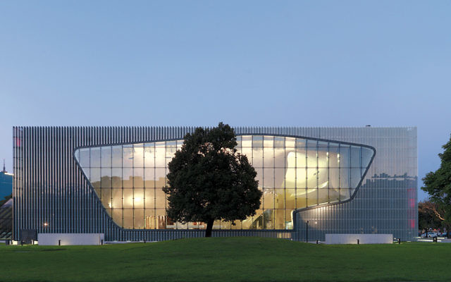 The distinctive exterior of the Museum of the History of Polish Jews.