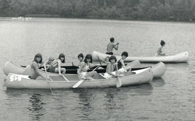 """Debbie Grossman of Caldwell, on the committee of the Jewish Historical Society's Summer Reunion project, paddles the summer away with her friends at Y Camp in August 1966. """"Camp and college, those were the best years of my life,"""" she said. (Albert E. Fougel)"""