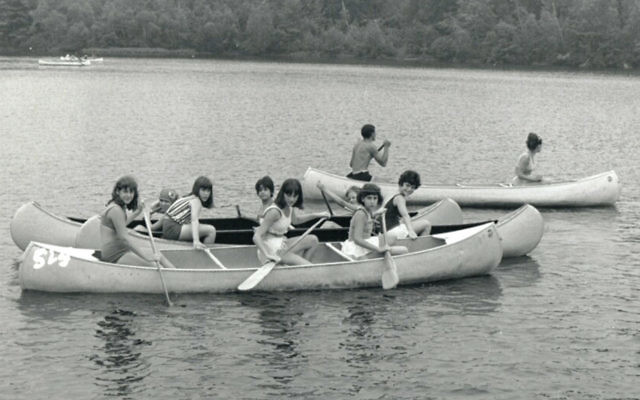 "Debbie Grossman of Caldwell, on the committee of the Jewish Historical Society's Summer Reunion project, paddles the summer away with her friends at Y Camp in August 1966. ""Camp and college, those were the best years of my life,"" she said. (Albert E. Fougel)"