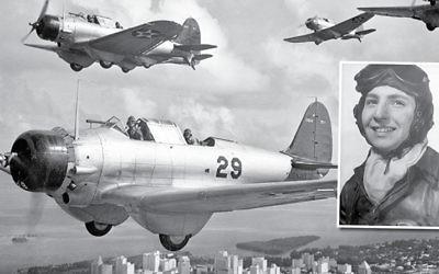 Old U.S. Navy planes in flight over Miami (photo courtesy Alan Feinberg)    Inset; Airman Gerry Gersten