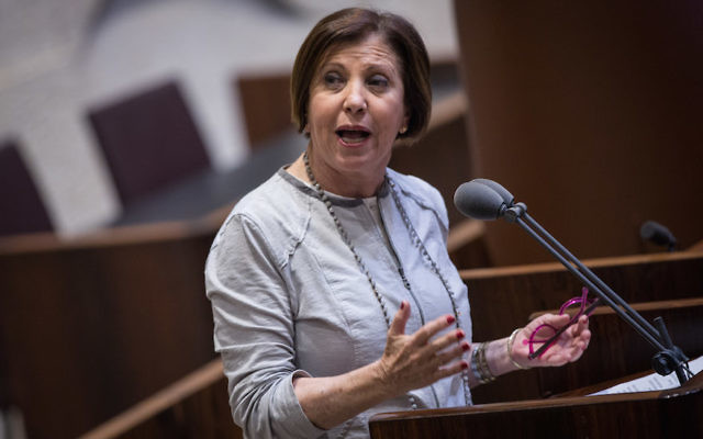 Zehava Galon speaking in the Knesset in Jerusalem, April 5, 2017. (Hadas Parush/Flash90)