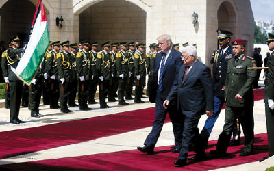 President Donald Trump and Palestinian Authority President Mahmoud Abbas in Bethlehem in the West Bank on May 23, 2017. (Flash90)