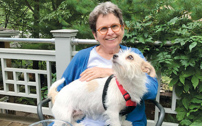 "Maxine Silverman with her dog, M'tooka; the mainly-Jack-Russell's name means ""sweet"" in Hebrew."