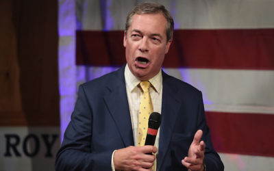 Nigel Farage speaking at a campaign event for then Republican Senate Roy Moore in Fairhope, Ala., Sept. 25, 2017. (Scott Olson/Getty Images)