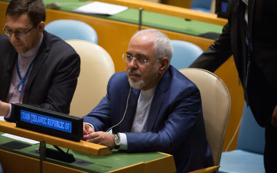 Foreign Minister Javad Zarif of Iran at the U.N. General Assembly in New York, Sept. 20, 2017. (Kevin Hagen/Getty Images)