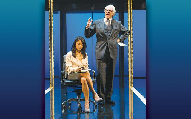 "Steven Pasquale as bombastic financier Robert Merkin (think Michael Milken) in Ayad Akhtar's new play, ""Junk."""