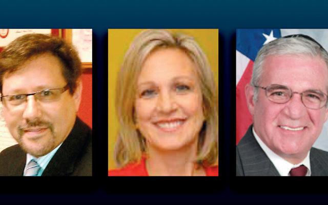 Dr. Steven Starkman, left, Assemblywoman Valerie Vainieri, and Assemblyman Gary S. Schaer