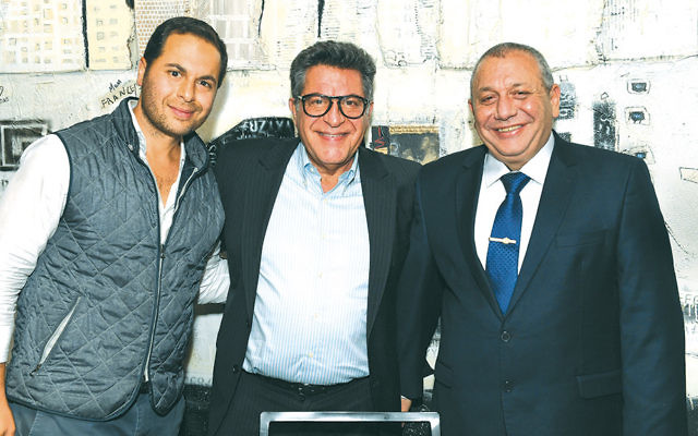 Sammy Bar-Or, center, an FIDF national board member and the NJ chapter co-founder, with his son, Tal Bar, left, and Lt. Gen. Gadi Eizenkot, IDF chief of staff. (Shahar Azran)