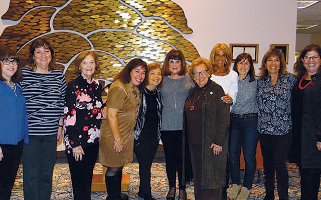 Sue Kolpen, left, with Joan Gottlieb, Barbara Goldstein, Diana Kreftig, Barbara Reiss, Joan Pressburger, Senator Loretta Weinberg, Madeline Gately, Lori Bellet, Sue Weisberg, and Sari Gross. (Photo courtesy Diana Kreftig)