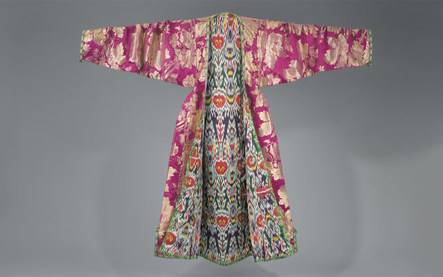 Woman's coat (kaltachak), Bukhara, Uzbekistan, late 19th century. Brocaded silk; ikat-dyed silk and cotton lining. (The Israel Museum, Jerusalem, photograph by Mauro Magliani)
