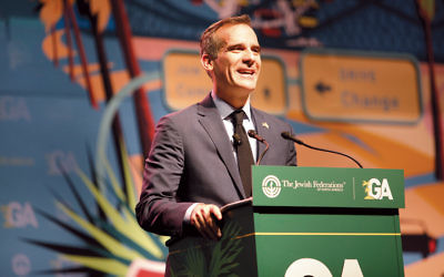 Los Angeles Mayor Eric Garcetti speaks at the Jewish Federations of North America's General Assembly. (Courtesy of JFNA)