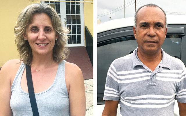 Michelle Carlo Newman, left, is a Puerto Rican physician helping to provide relief to those affected by the hurricane. Adolfo Vasquez is a cab driver whose living has been compromised by Hurricane Maria. (Photos by Josefin Dolsten)