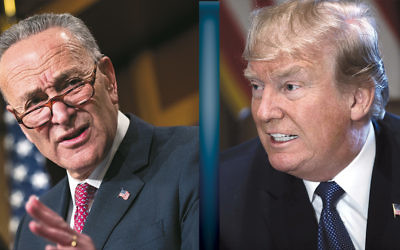 Charles Schemer, left,  at a news conference on Oct. 31, the day of the terrorist attack in lower Manhattan. (Drew Angerer/Getty Images). Donald Trump at a Cabinet meeting on Nov. 1. (Win McNamee/Getty Images)