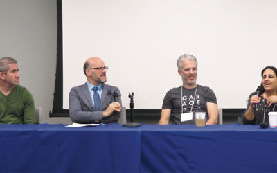 """From left, Michael Solomonov, Mitchell Davis, Lior Lev Sercarz, and Einat Admony participate in a panel discussion on """"Israeli Cuisine as a Reflection of Israeli Society"""" on November 13 in Washington, D.C. (Ron Kampeas)"""