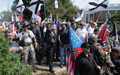 """Hundreds of far-right demonstrators gather at the """"Unite the Right"""" rally in Charlottesville, Va., Aug. 12, 2017. (Chip Somodevilla/Getty Images)"""