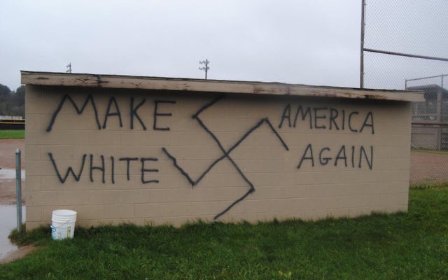 Nazi-themed graffiti was found in the town of Wellsville, N.Y., the same day that Donald Trump won the presidential election, Nov. 9, 2016. (Twitter)
