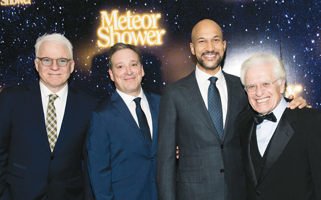 "On opening night for ""Meteor Shower,"" from left, playwright Steve Martin, stars Jerry Shamos and Keegan-Michael Key, and director Jerry Zaks all beam at the camera."