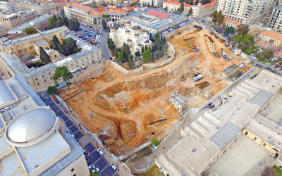 The excavation site in central Jerusalem of the future $100 million Bezalel Academy of Arts and Design. The building will face the Ottoman-era Russian Orthodox church.