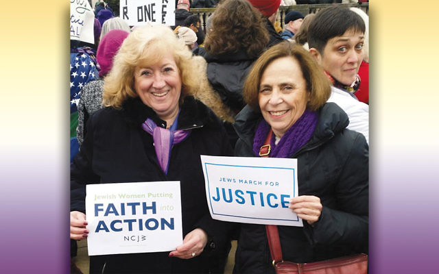 Elaine Myerson and Bari Lynne-Schwartz, NCJW's co-vice president of advocacy and education, at a rally in Trenton.
