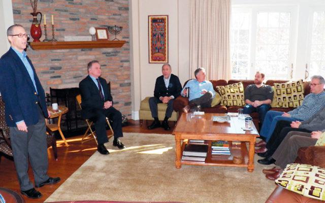 David Schlussel, far left, introduced Congressman Chris Smith. (Courtesy Norpac)