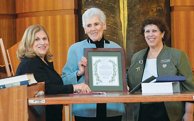Hadassah vice president Geri Lipschitz, left, 2017 Myrtle Wreath honoree, Ruth Grossberg, and Hadassah Northern NJ president Gail Black. (Ruth Grossberg)