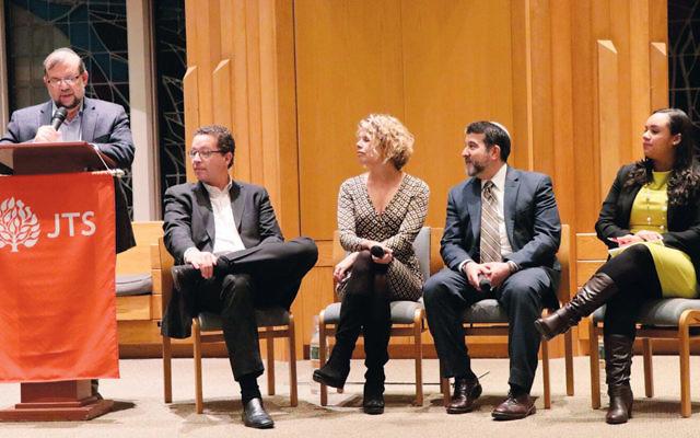 Panelists, from left, included Rabbi Burton L. Visotzky, moderator Ron Lieber, Professor Lisa Servon, Rabbi David Rosenn, and New York State Assemblywoman Carmen de la Rosa. (Harold Levine)