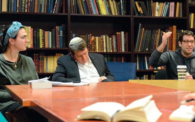 Professor Sarah Rindner, left, with Rabbi Daniel Fridman of the Jewish Center of Teaneck, and Robert Blum. (Michael Laves)