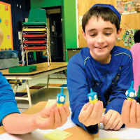 Students at the Glen Rock Jewish Center made dreidels during art class.(Courtesy GRJC)